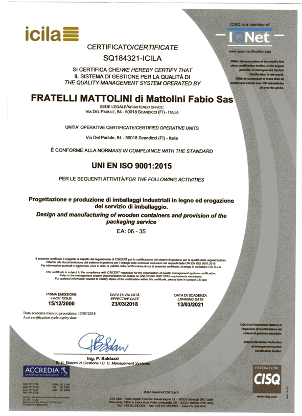 Certificato di conformità alla norma UNI EN ISO 9001:2015